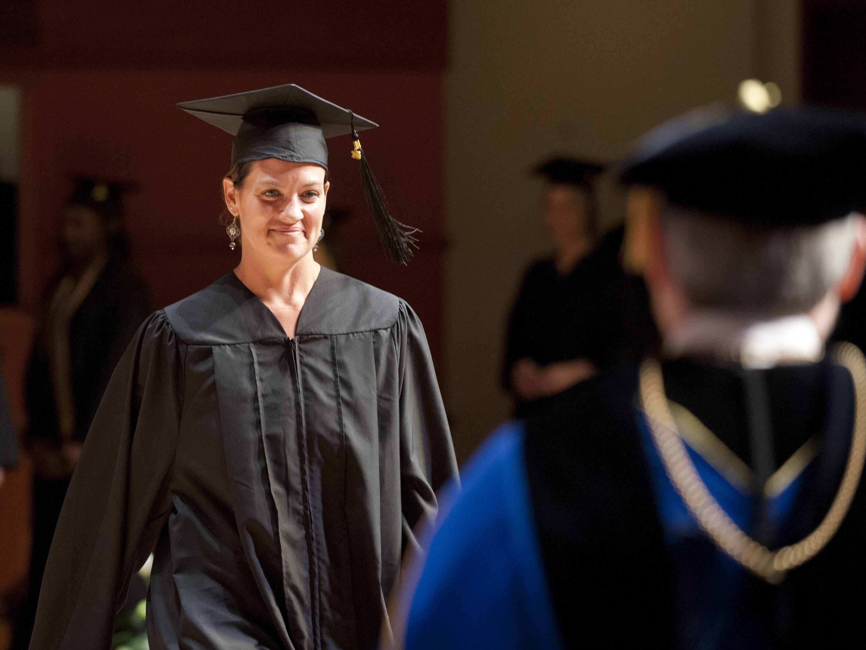 Adult undergrad student graduating