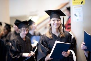 A graduate student at graduation.