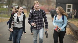 Students walk on a path at Bethel University.