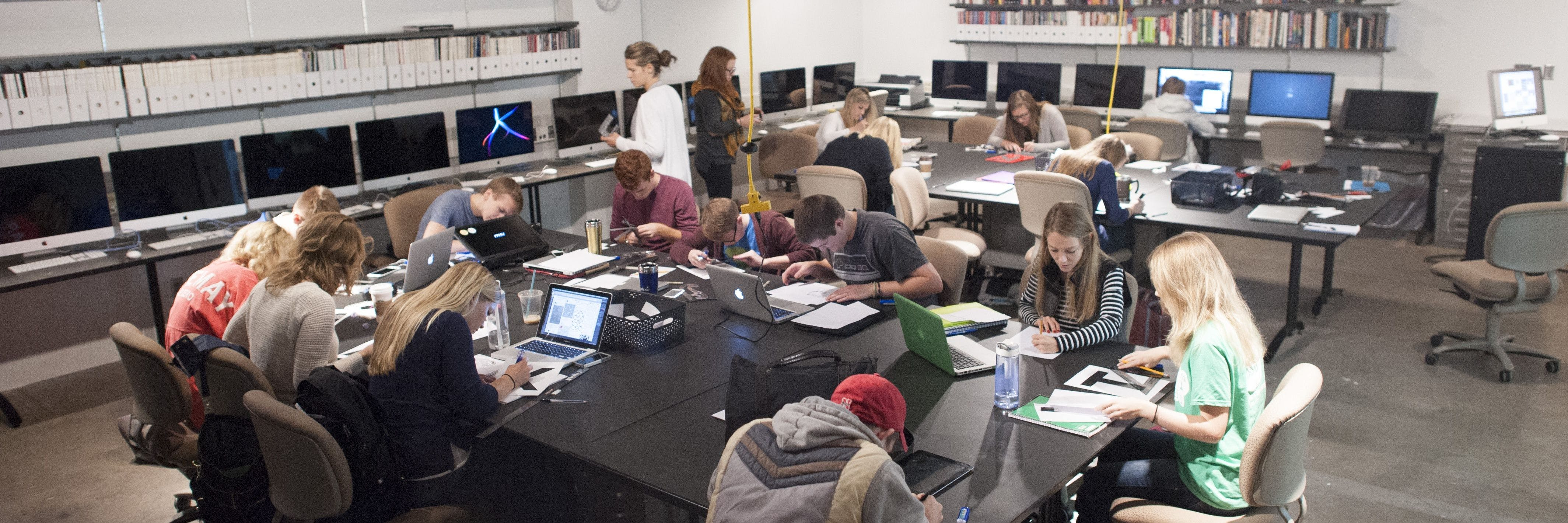 Students work in a design studio.