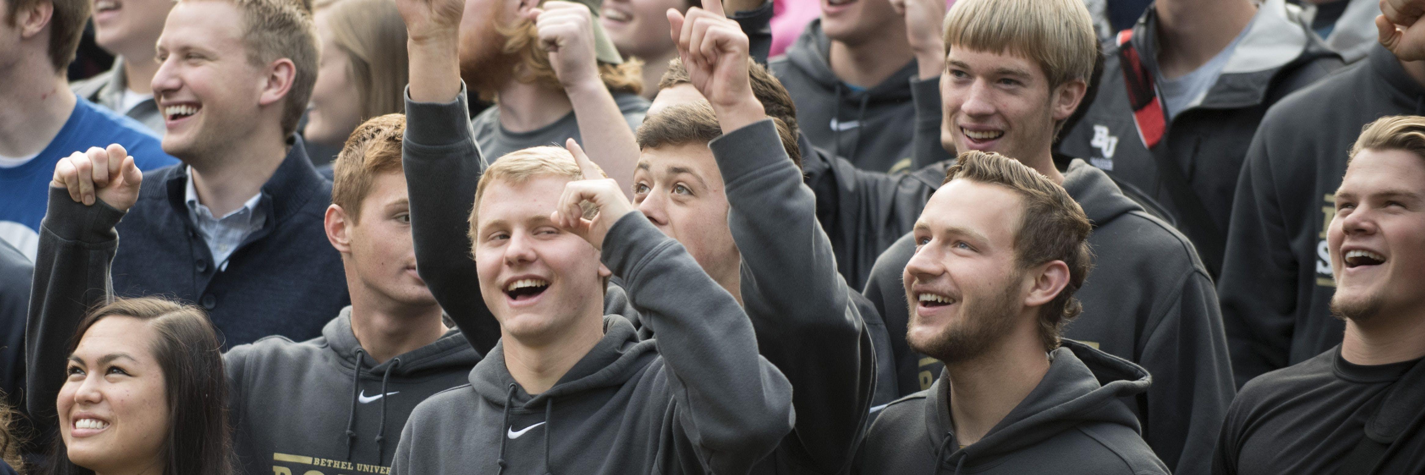Student athletes celebrate the Wellness Center groundbreaking.