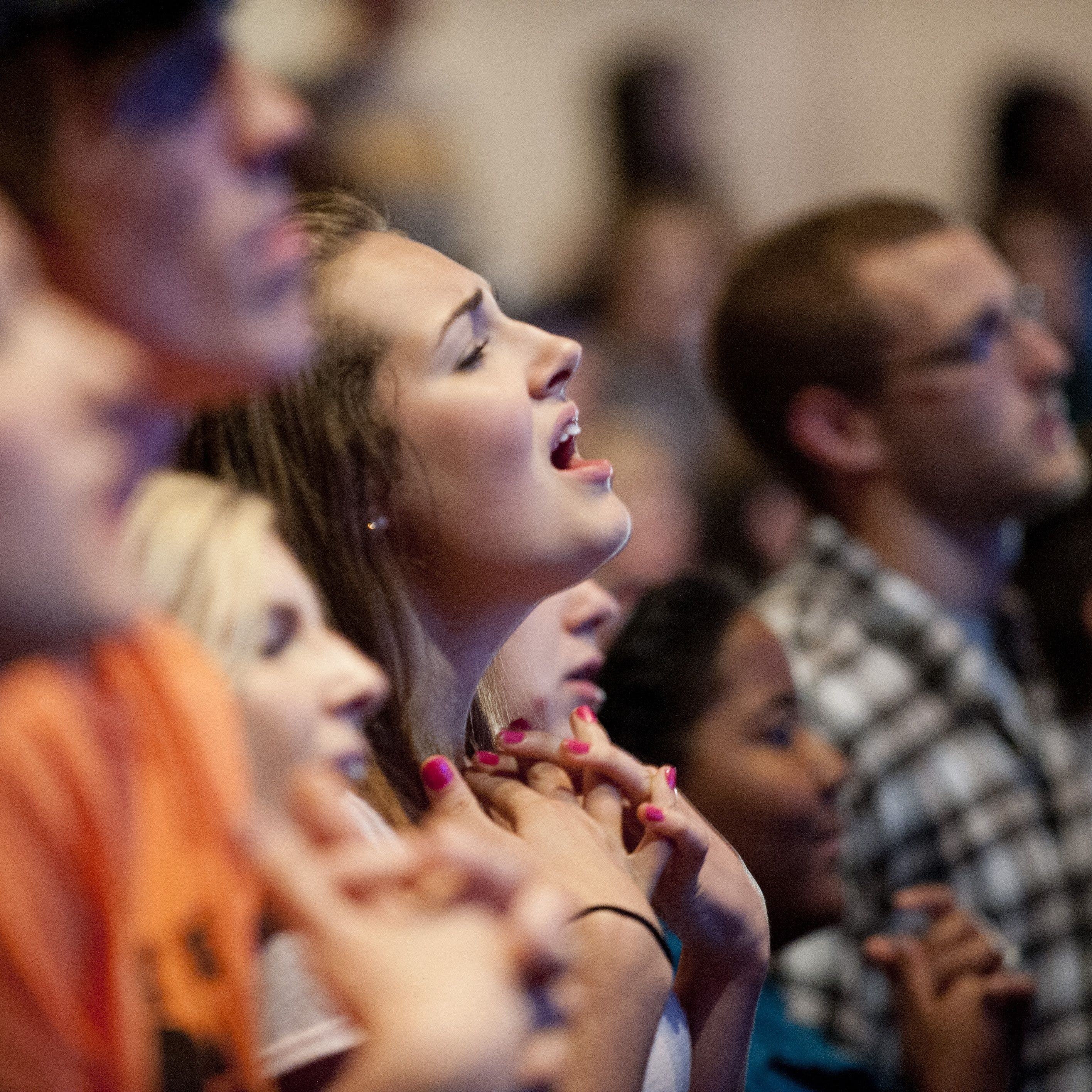 Students sing during Chapel.