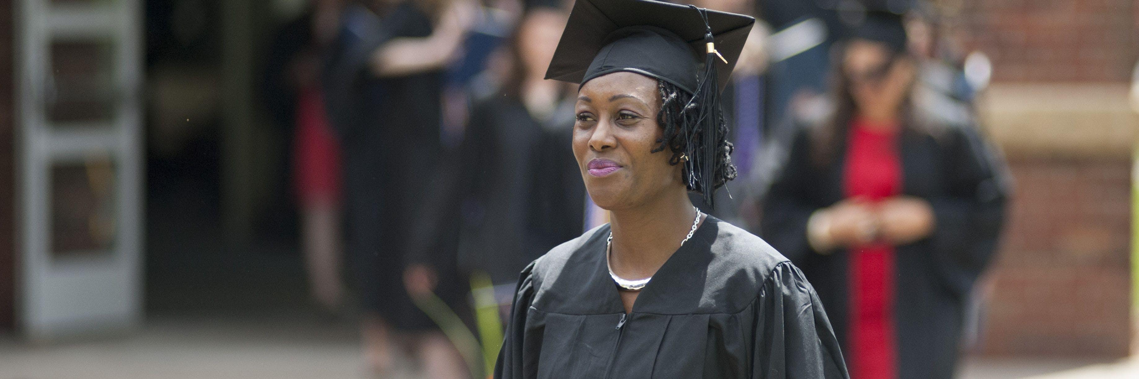 An adult student graduates.