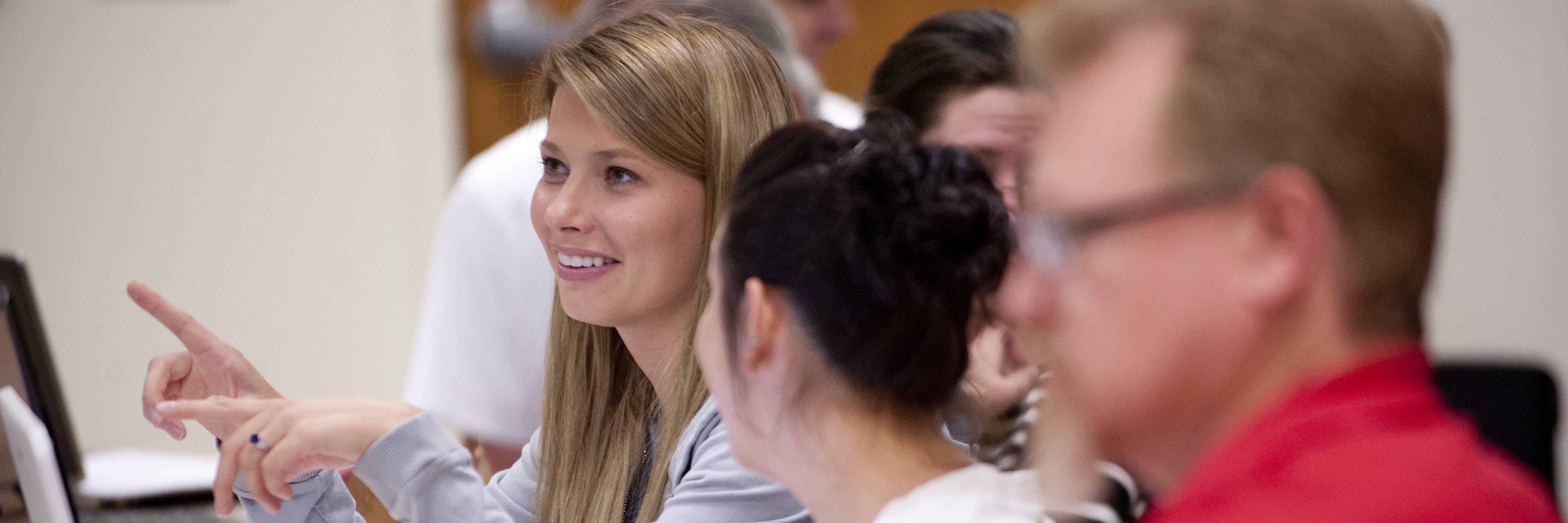 Bethel student talking in class