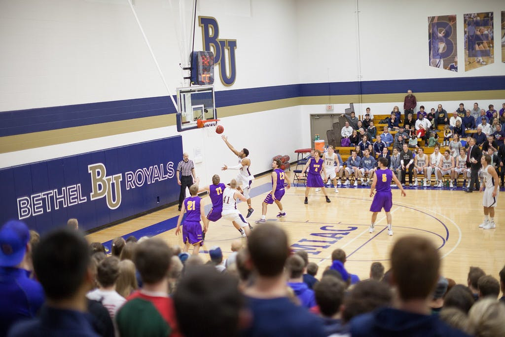 Audience perspective view of RC court, men's basketball game.