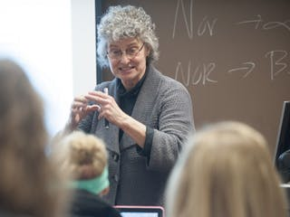 Bethel professor teaching class