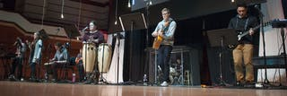 Student musicians play during chapel