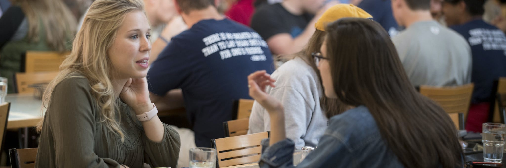 Students eating in dining center at Bethel University