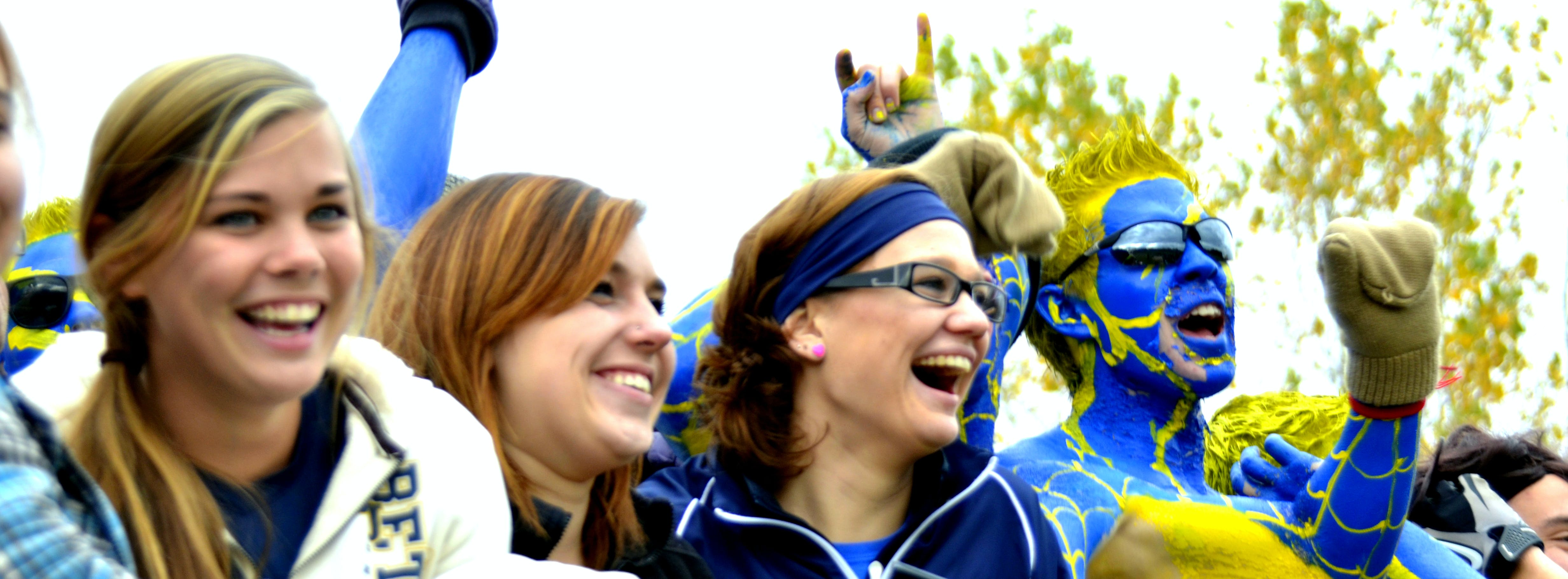 Students cheering on the Bethel Royals.