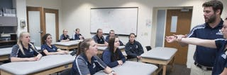 Athletic training leadership program students in classroom