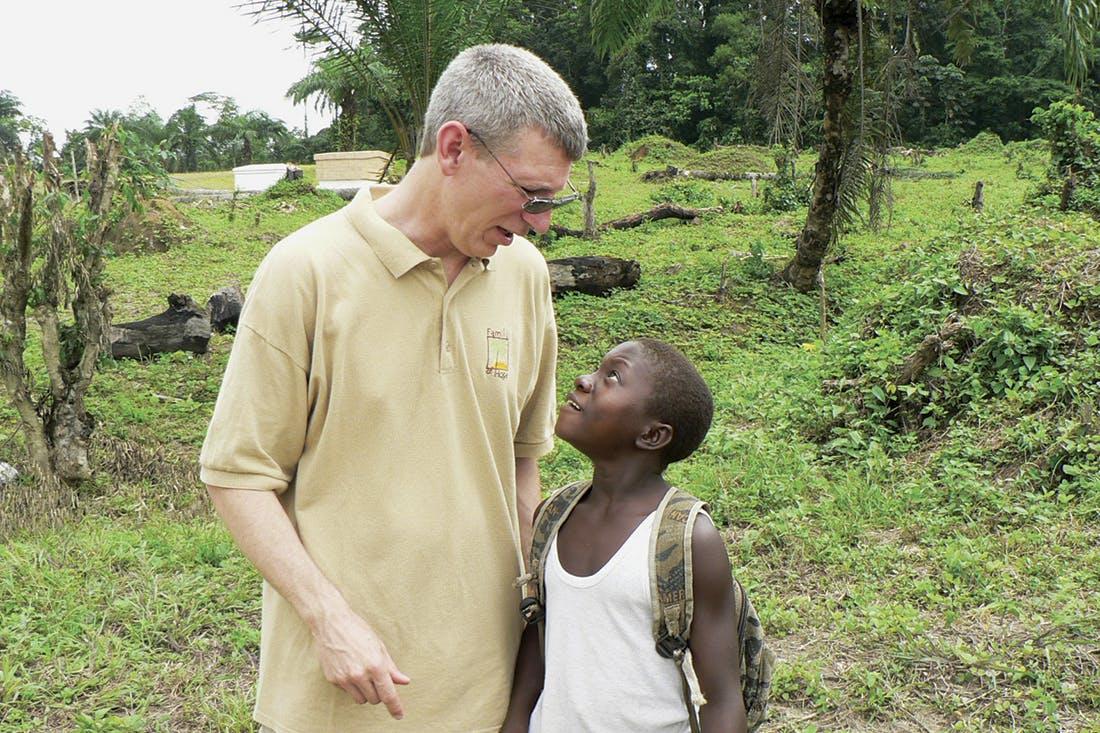Barrett Fischer with Zondo Town Boy