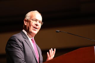 New York Times columnist David Brooks speaks in an event in Benson Great Hall.