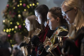 Bethel Handbell Ensemble performs during Festival of Christmas 2018.