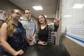 Assistant Professor of Physics Julie Hogan and physics and mathematics double majors Sam Johnson '19 and Greta Knefelkamp '18.