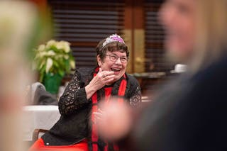 Professor of Communication Studies Leta Frazier was given a tiara to wear during her goodbye celebration on campus on December 12.