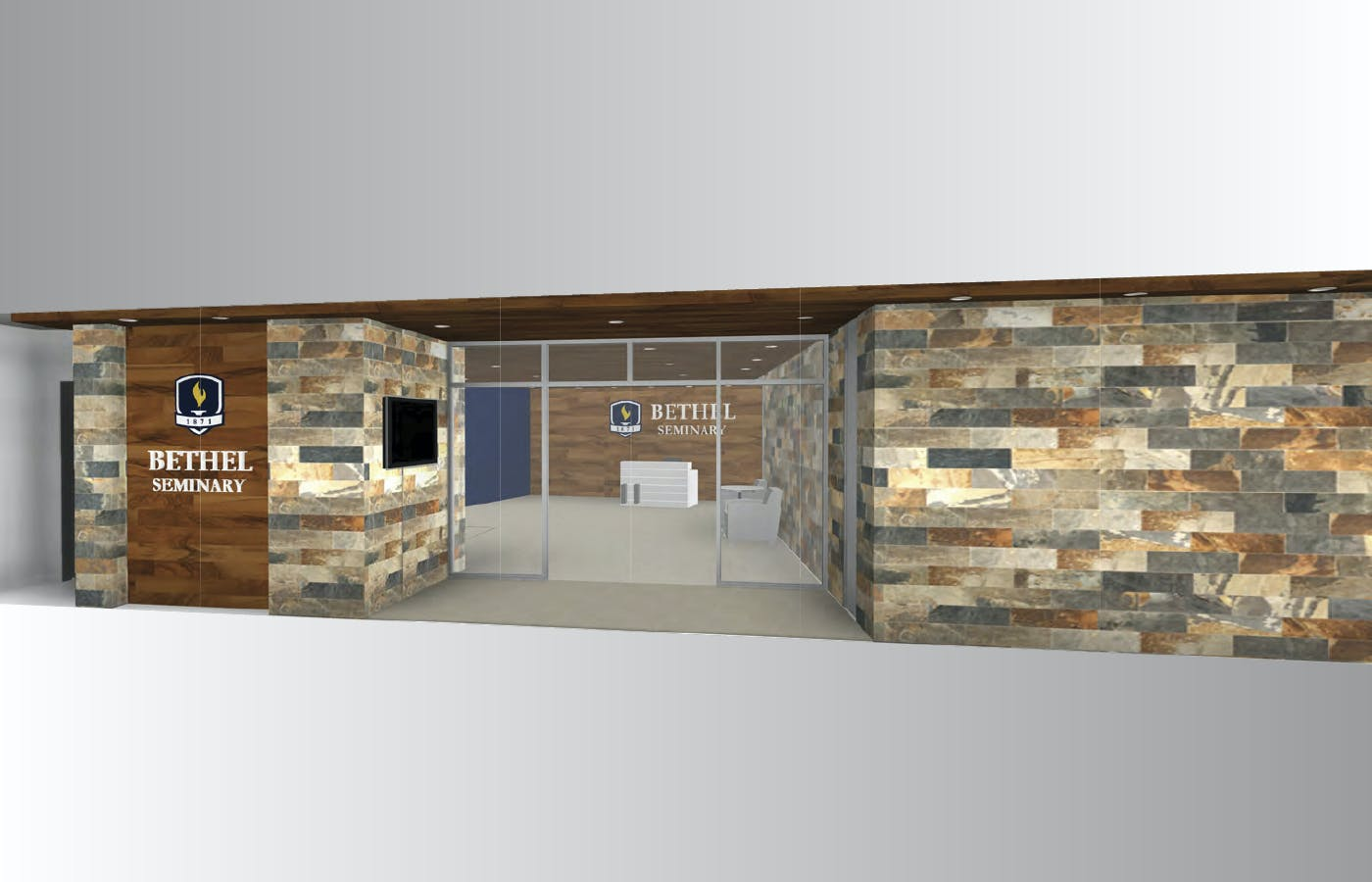 The main entrance of Bethel Seminary will incorporate natural elements like tile, wood, and glass, consistent with the pastoral feel of the current seminary complex. A digital display and dedicated signage will provide a sense of place to community members and visitors.