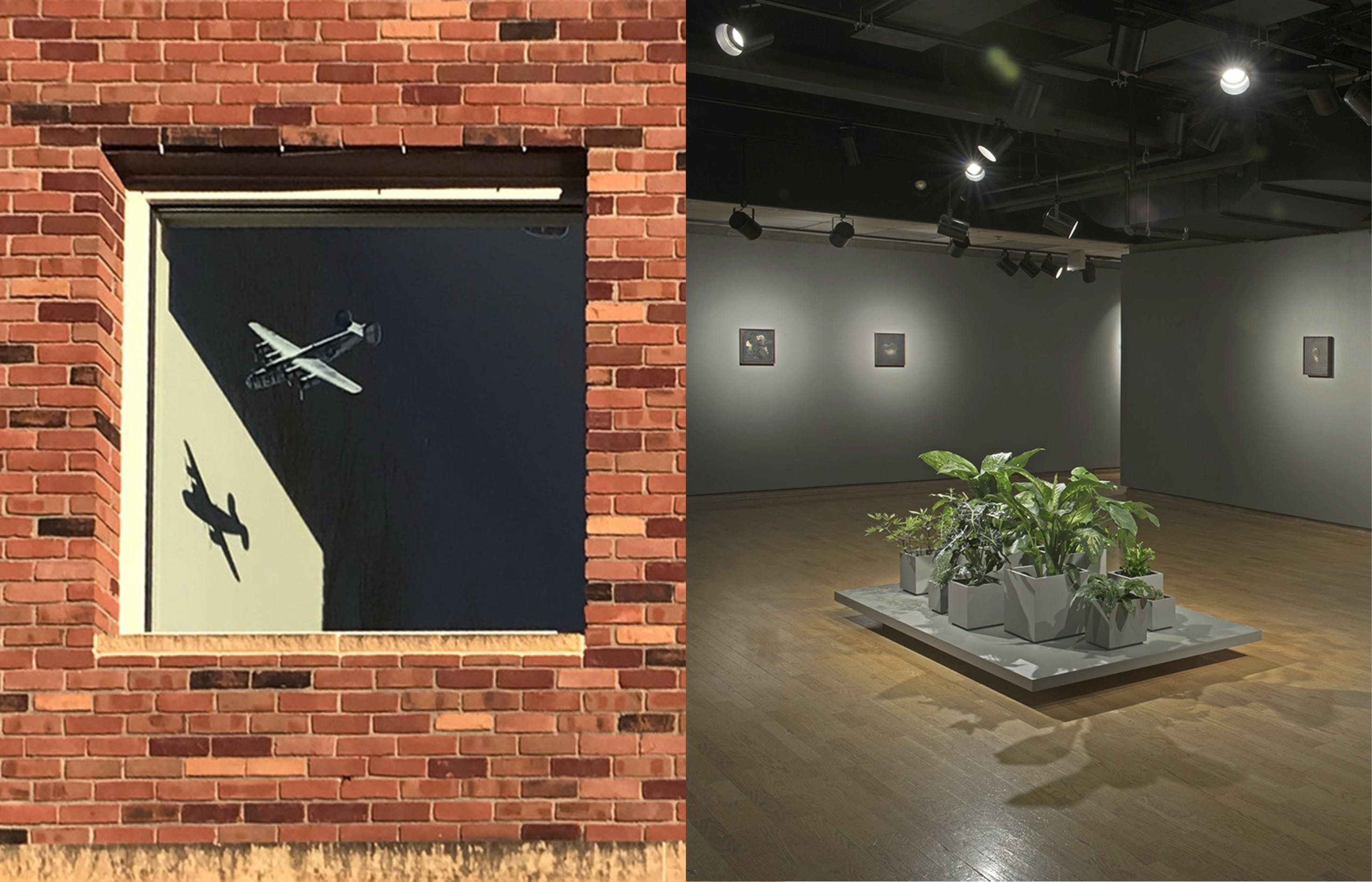 Recent on-campus exhibitions by Professors of Art Michelle Westmark Wingard (left, Olson Gallery) and Amanda Hamilton (right, Johnson Gallery). Both professors are recipients of 2019 Artist Initiative grants.