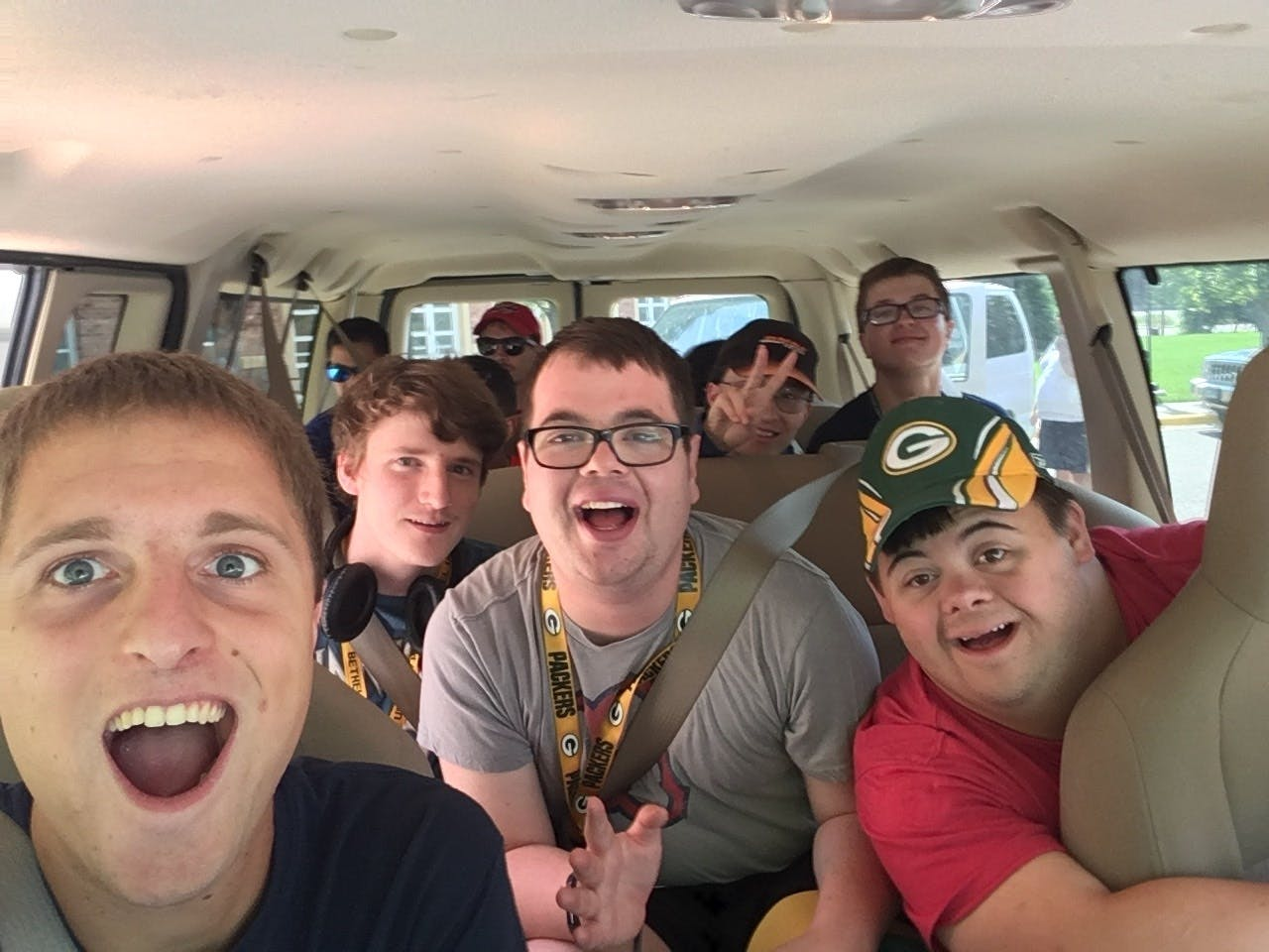 Brady Tongen '20 is a mentor in Bethel's BUILD program. Here he's shown with students in the program, on a field trip.