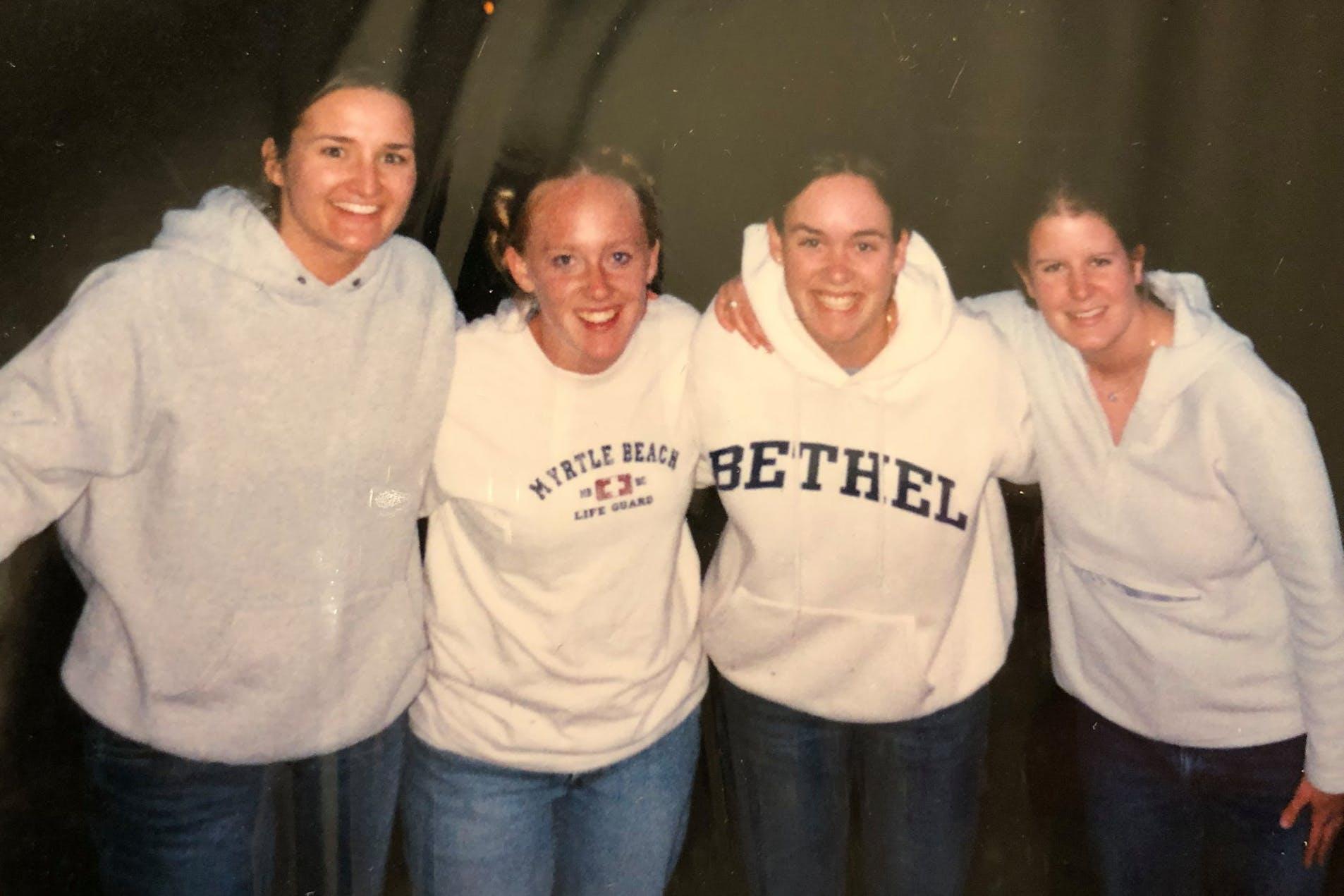 Kirsten (Frederick) Fumagalli '03 and friends at Bethel
