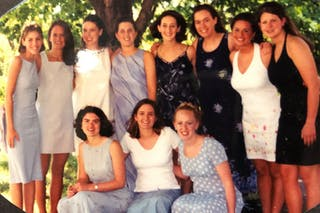 Kirsten (Frederick) Fumagalli '03 and her friends as students at Bethel