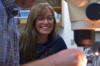 Maria Pecoraro '19 spent her summer working with Professor of Biology Brian Hyatt on experiments on lung development in African clawed toed frogs as part of a prestigious Edgren Scholarship.