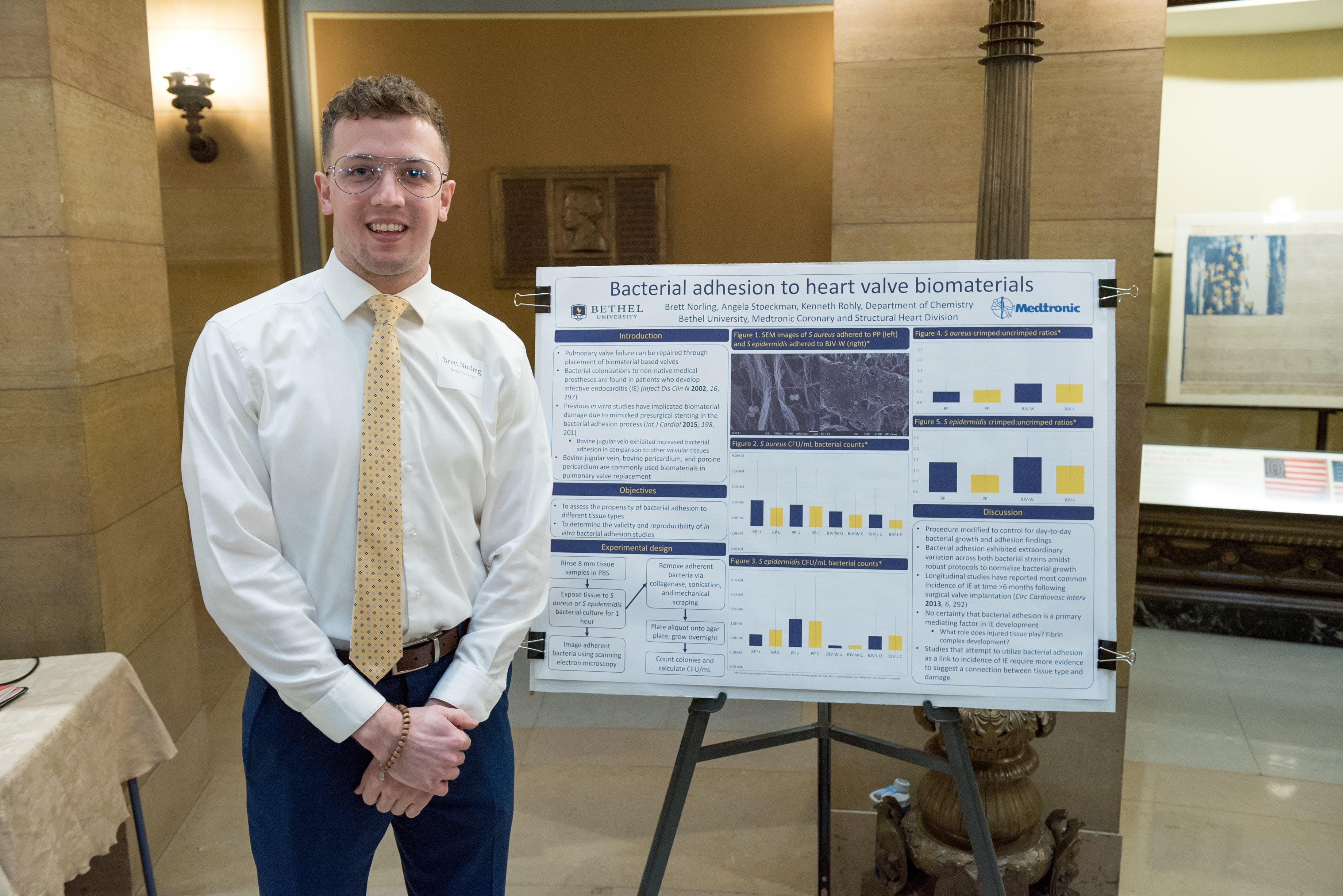 "Chemistry major Brett Norling '19 presented his research on ""Bacterial Adhesion to Heart Valve Biomaterials."""