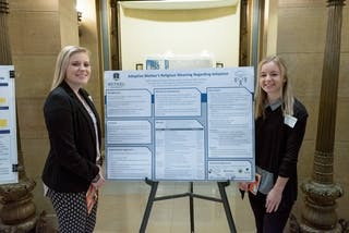 "Psychology majors Sydnie Sybrant '20 and Meg Thorison '19 presented their research on ""Adopted Mother's Religious Meaning Regarding Adoption."""