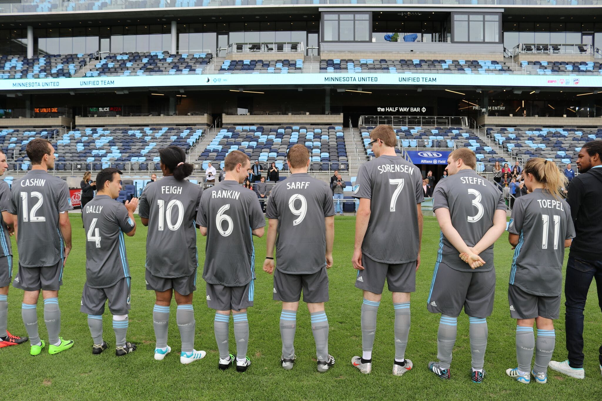Sarff on the field with the other new members of the 2019 Minnesota United Unified Soccer Team