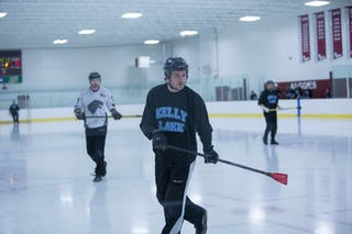 Broten playing broomball