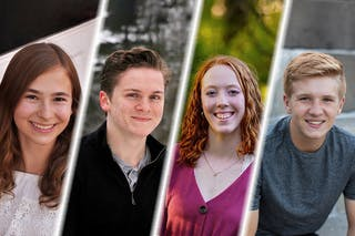 Four students who've been selected as Physics and Engineering Program Scholars at Bethel University