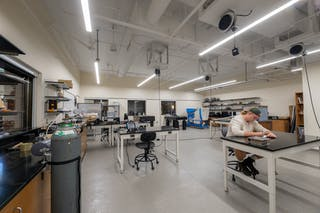 The new space on Barnes Academic Center (BAC) Level 2 opened in August 2019, featuring specialized robotics, fluid mechanics, modern physics, mechanical materials, and mechanical engineering flex labs.