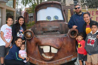 Sarah Sanchez '17 and some of her siblings, nieces, and nephews when they visited Disneyland in 2019.