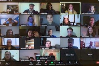Students from Bethel, Oberlin College, and Hamline University met online over Zoom for the class.