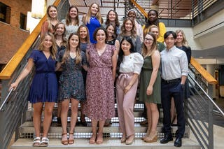 The first cohort of post-baccalaureate nursing students celebrated their graduation from the program with a pinning ceremony on Friday, August 6. These students come from a wide variety of majors and enrolled in the program to make a career change to nursing.