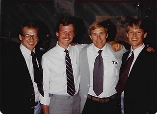 Doug is on the far left and Dan is on the far right. Between them are Brian Doten '81, S'87 and former Bethel Professor Steve Simpson.