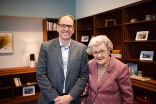 Bethel President Ross Allen connected with Edman to thank her for her generous contribution in support of the next generation of Bethel nurses.