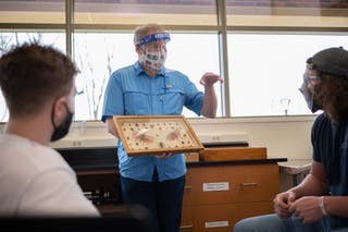 Professor of Biology Jeff Port uses the department's teaching collections in his lab.