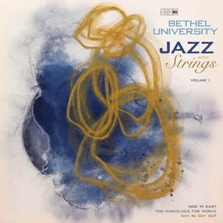 """Art major Halle Rittgers '21 used her piece, """"Indigo and Ochre,"""" to create the album cover for """"Bethel University Jazz with Strings, Volume I."""""""