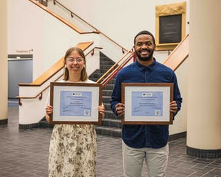 """Chambers and Ranae Pageler '21 both received the 2021 Reconciliation Studies Award. """"These students show a commitment to advancing reconciliation principles and practices through their relationship with Jesus, God, and the Holy Spirit,"""" says Dr. Claudia May, program director and professor of reconciliation studies. """"They courageously engage with self-examination. They practice reconciliation by entering into challenging and potentially life changing relationships with others."""""""