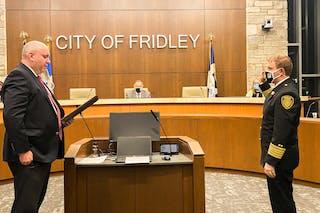 Maddison Zikmund being sworn in as fire chief
