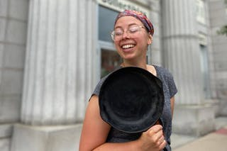 Ranae Pageler with a cast iron frying pan