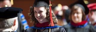 Seminary student smiling at graduation