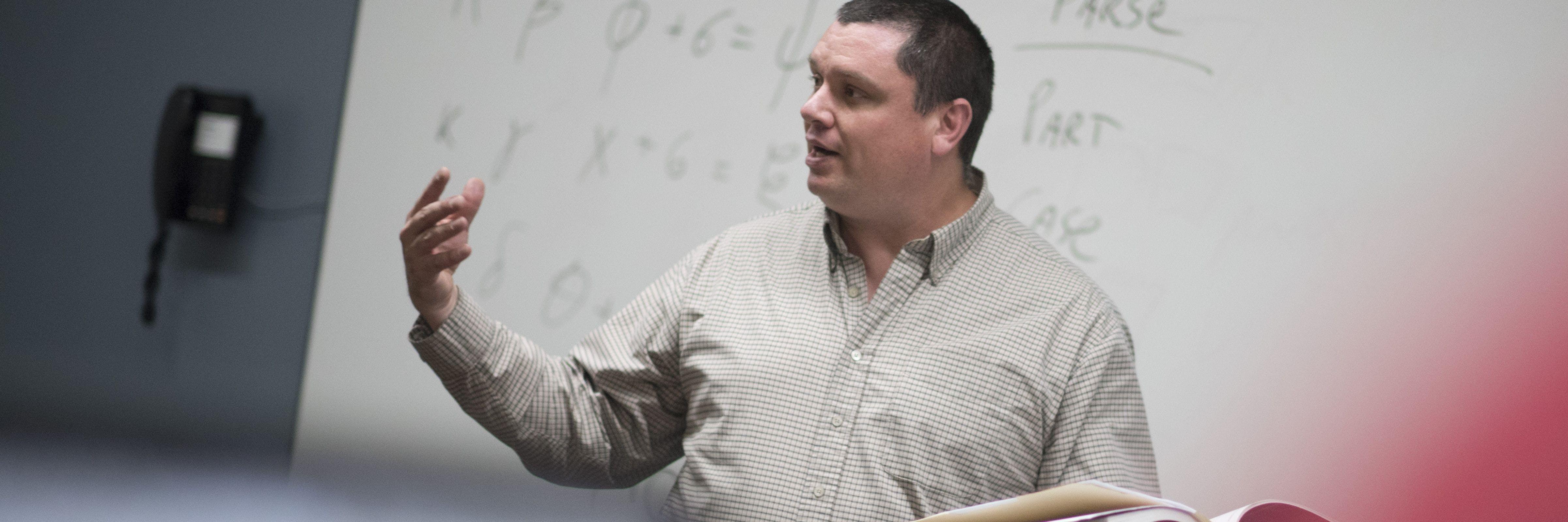 Seminary professor teaching in the classroom