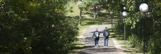 Two students walking down path