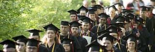 Students graduate from Bethel Seminary.