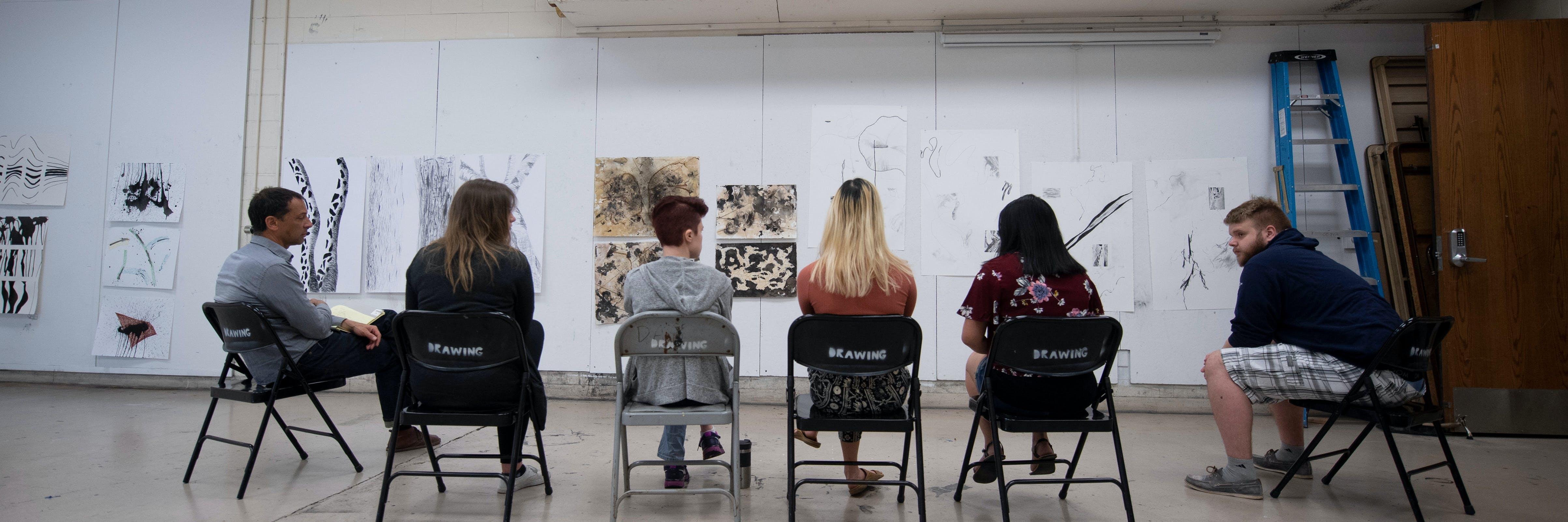 Art students in critique