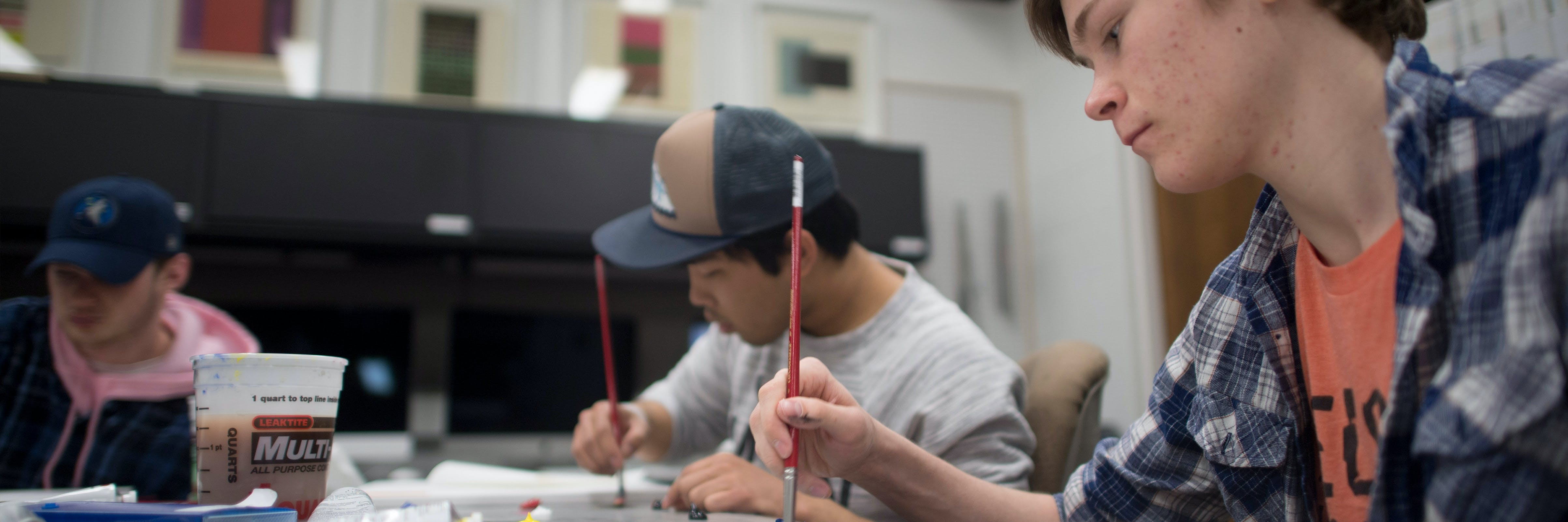 art students painting