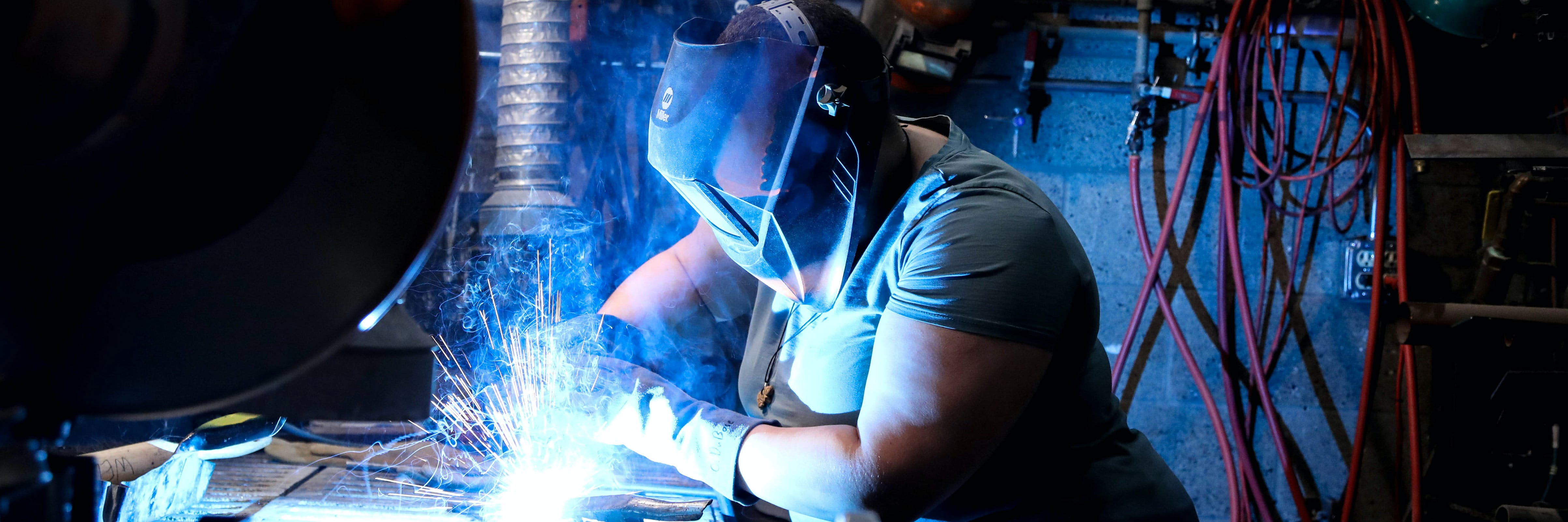student in welding studio