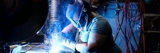 student in welding studio
