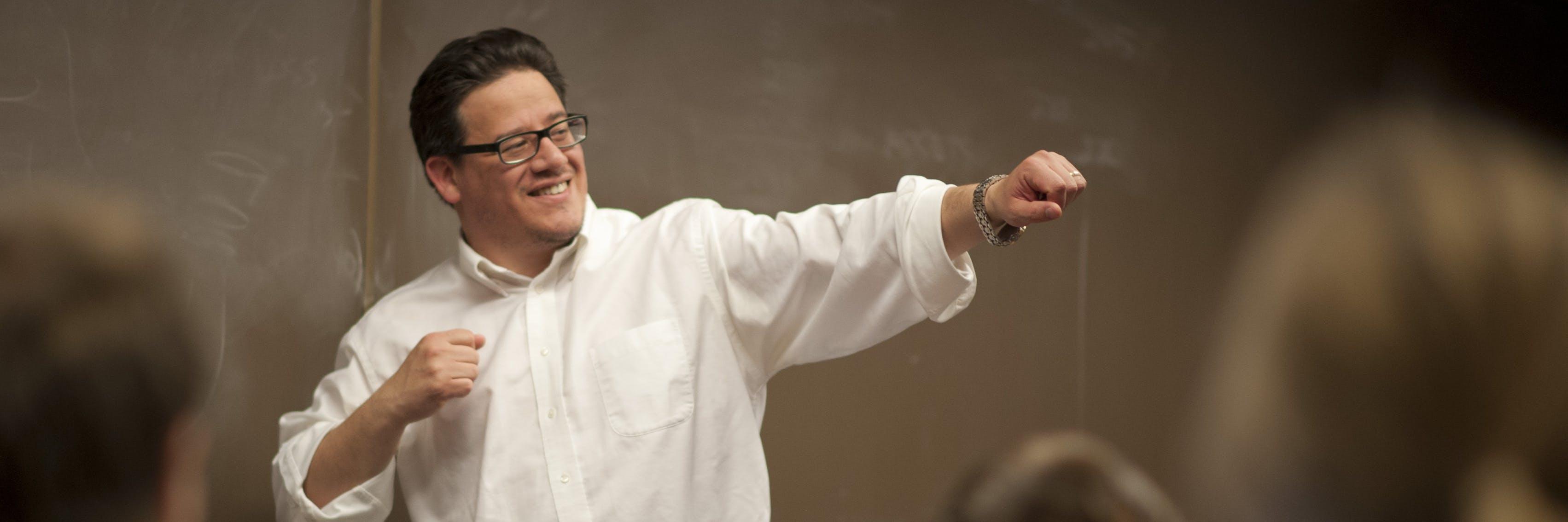 Animated professor teaching a class